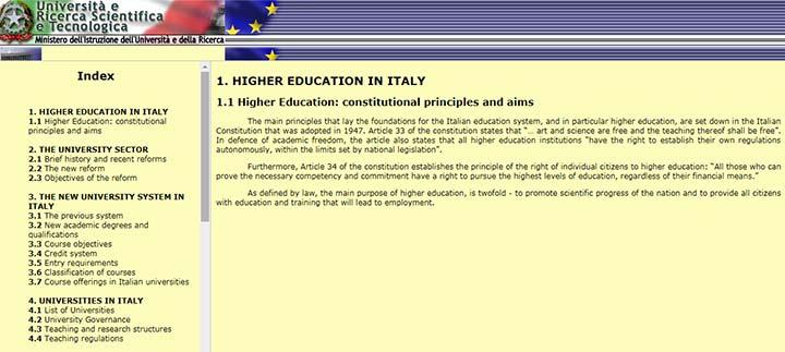 وبسایت وزارت آموزش عالی ایتالیا - تحصیل در ایتالیا